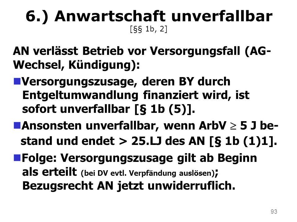 6.) Anwartschaft unverfallbar [§§ 1b, 2]